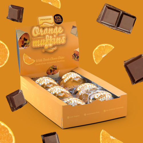 6 x Orange-Choco Chip Muffins - Zuckerarme Muffins 60 g