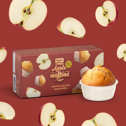 2 x Apple Muffins - Low Sugar Muffins 60 g