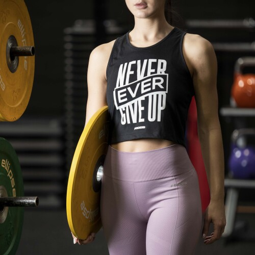 Top corto Power Up - Never Ever Give Up