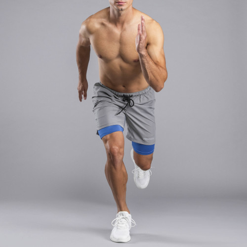 Lauf-Shorts - Holster Grey / Blue