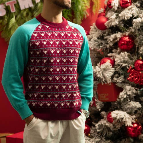 Xmas Rudolph Sweater - Blue/Bordeaux