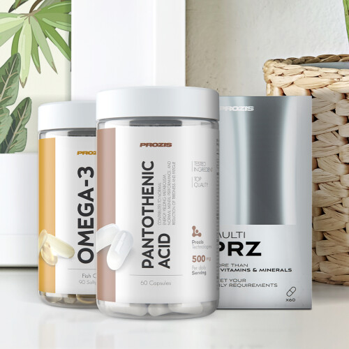Multi PRZ 60 tabs + Omega 3 90 softgels + Pantothenic Acid Vitamin B5 500 mg 60 caps