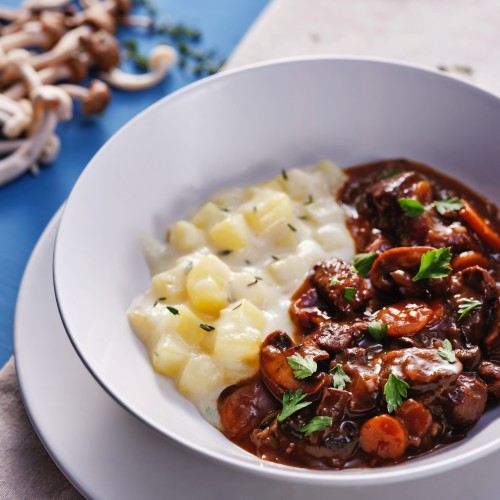 French Bourguignon Beef Stew & Dauphinoise Potatoes