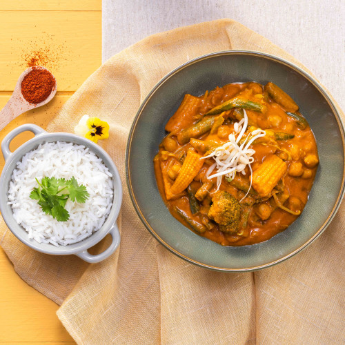 Indian Vegan Curry & Fragrant Basmati Rice
