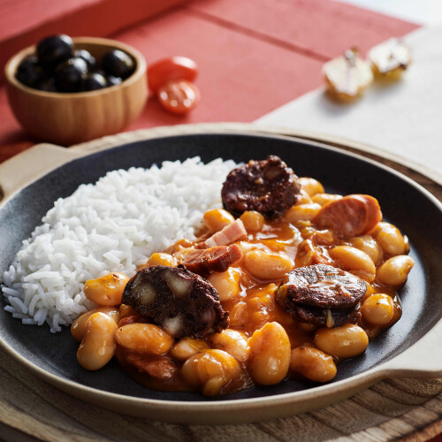 Spanish Fabada Asturiana Bean Stew & Rice