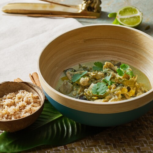 Thai Authentic Green Chicken Curry with Quinoa & Bulgur