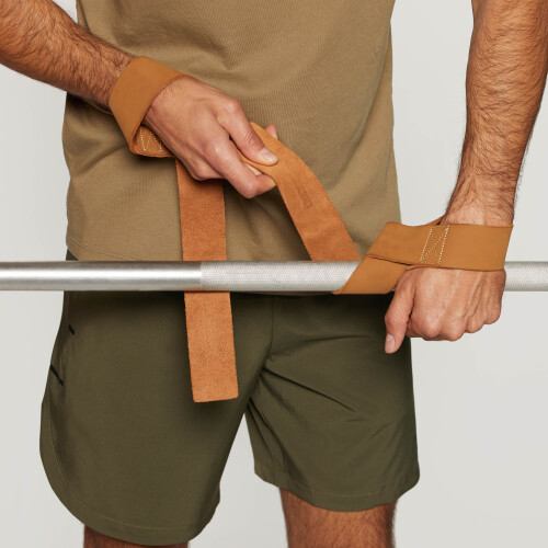 Leather Weightlifting Straps - Camel