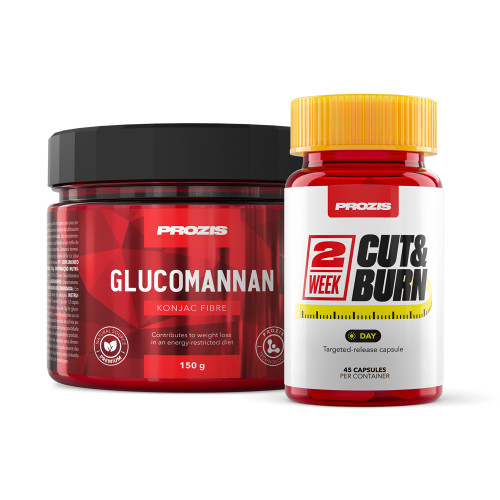 2 Week Cut & Burn 45 caps - Day + Free Glucomannan - Konjac Fibre 150 g Natural