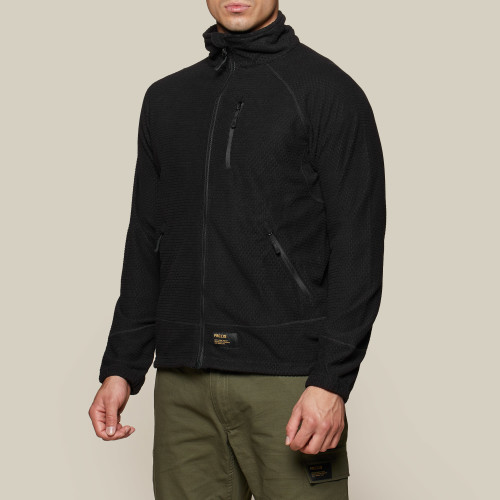 Army Grid Fleece Jacket - Black
