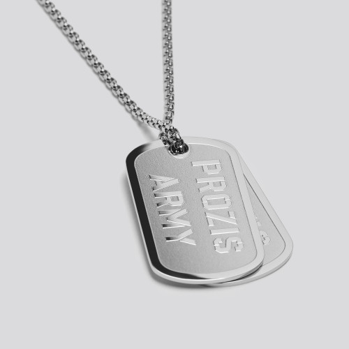 Colar Army Dog Tag - Silver