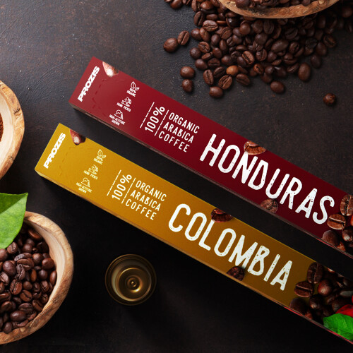 Pack 100% Organic Arabica Coffee Colombia + Honduras 20 caps