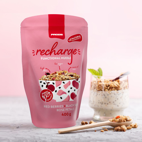 Recharge Functional Muesli 400 g Red Berries - Black Sesame - Rose Petals