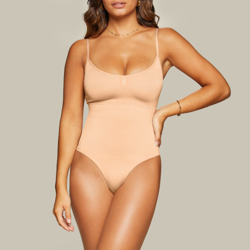 Silhouette Sculpting High Waist Thong - Beige