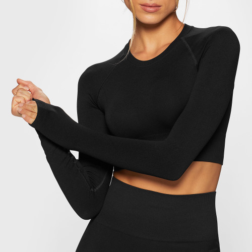 Crop Top à Manches Longues Elements WS002 - Black