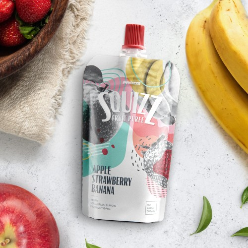 Squizz - Fruit Puree - Maçã, Morango e Banana 100 g