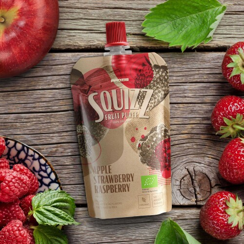Squizz - 100% Organic Fruit Puree - Apple Strawberry Raspberry 100 g