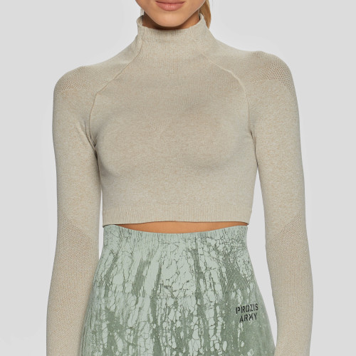 Army Field Action LS Crop Top - Beige