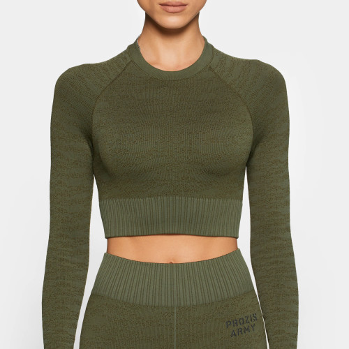 Army Standard Issue Langarm-Crop Top - Camo Green