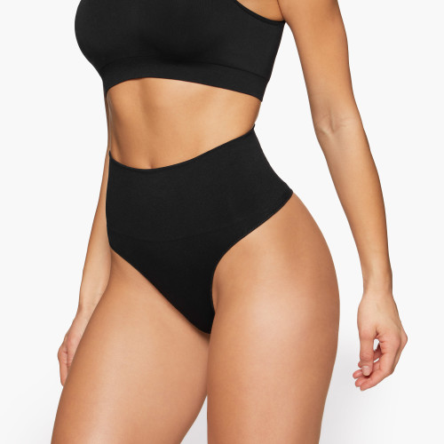 Le Cozy High Waist Seamless Thong - Black