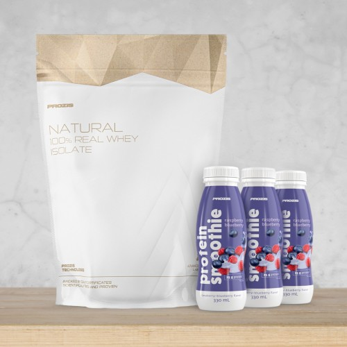 Natural Real Whey Isolate 2000 g + 3 x Protein Smoothie 330 ml Gratuit