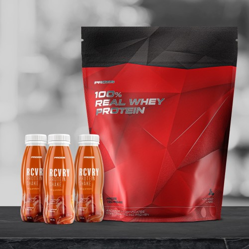 100% Real Whey Protein 2000 g + Free 3 x RCVRY Protein Shake 330 ml