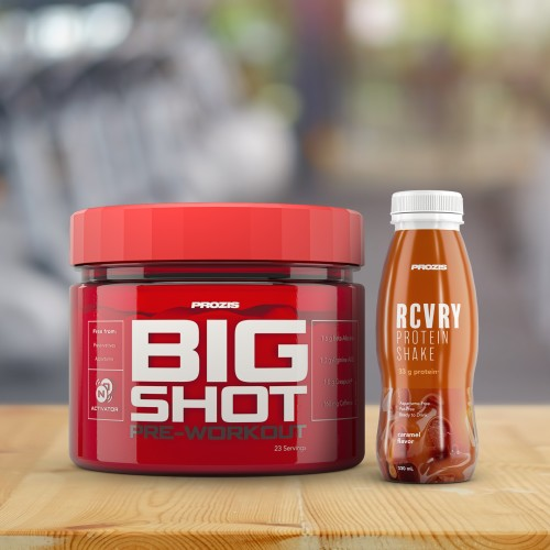 Big Shot - Pre-Workout 23 servings + Free RCVRY Protein Shake 330 ml