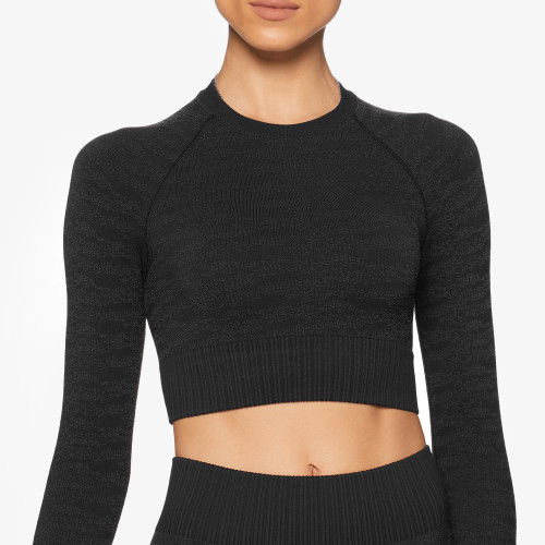 Army Standard Issue LS Crop Top - Camo Black