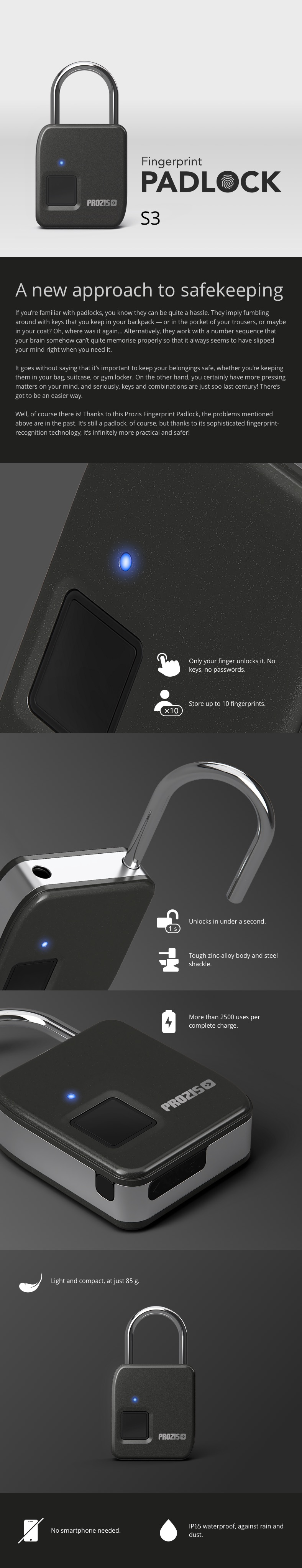 Fingerprint Padlock FL-S3 - description
