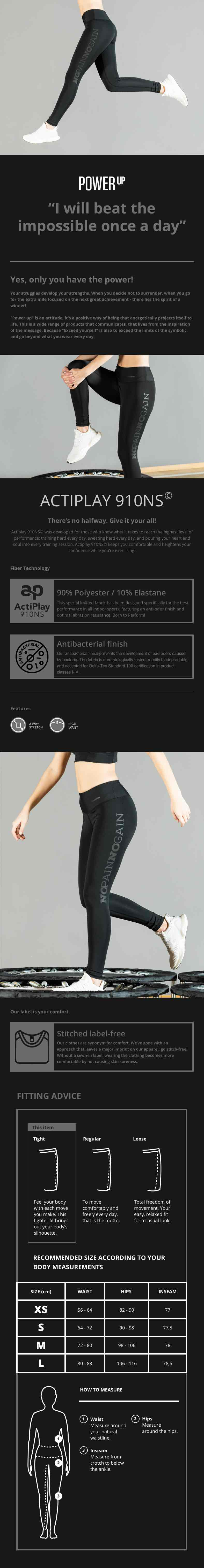 Power Up Leggings - No Pain No Gain - description