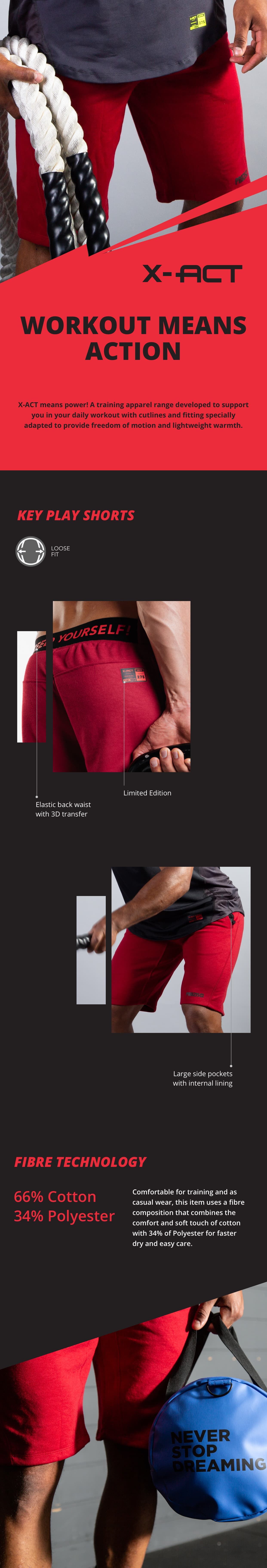 X Act - KeyPlay Shorts Red - description