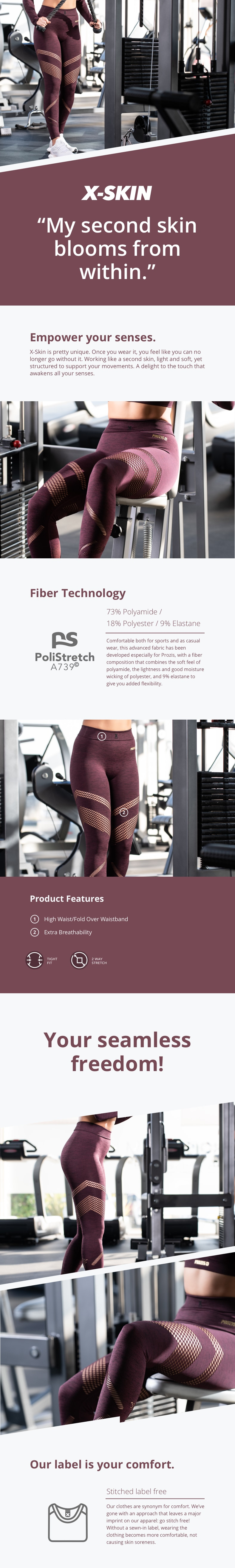 X-Skin Leggings - Cetus Maroon - description